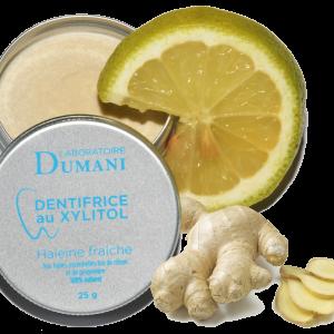 Dentifrice citron gingembre haleine fraiche
